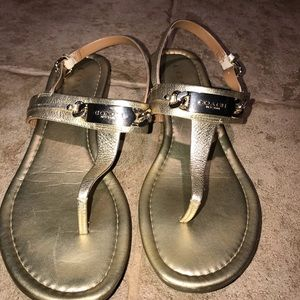 Women's gold coach sandals